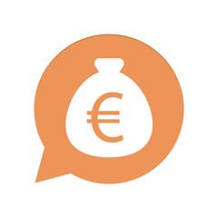 Orangene Sprechblase rund - Geldsack Euro