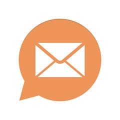 Orangene Sprechblase rund - Brief