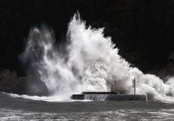 Poster de jardin Eau big wave breaking on breakwater on Plentzia