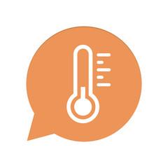 Orangene Sprechblase rund - Thermometer kalt