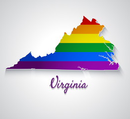 Map of Virginia with flag of LGBT. Abstract vector paper map