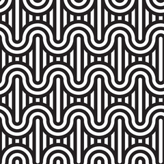 Seamless geometric pattern. Geometric simple print. Vector repeating texture. Monochromatic linear background. Retro motif graphic texture.