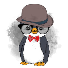 Image Portrait of cartoon penguin in a hat, cravat and glasses. Vector illustration.