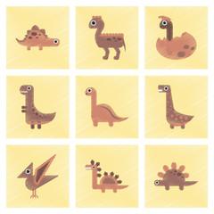 assembly flat shading style icons cartoon dinosaur
