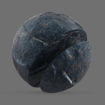 Dark blue stone on coastline, France