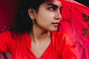beautiful bengali woman posing/wearing traditional indian attire
