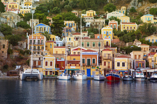 Yachts docekd at the harbour of Greek island Symi