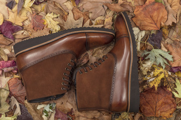 Close-up view of the stylish and elegant leather men's  shoes in the leaves and wood background in casual autumn or spring style.