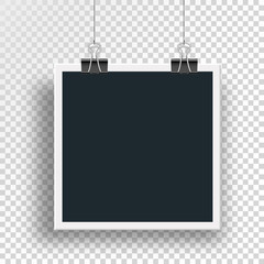 Vector photo frame clamped binders clips and weighs on a steel cable on the clip on an isolated background