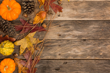 Fall background copy space pumpkin acorn wooden table