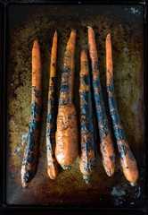roasted carrots top view