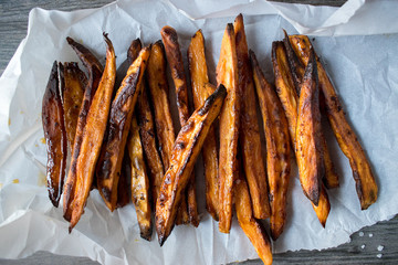baked sweet potato fries top view
