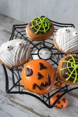 Halloween decorated donuts