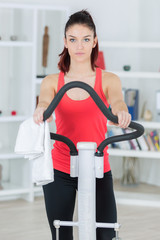 sporty woman training on exercise bike at home