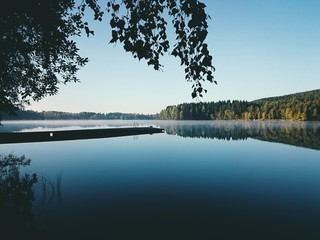 Sunrise at a misty lake in Oslo, Norway (mobile)