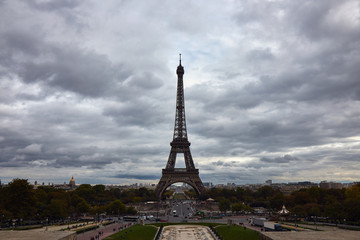 Eiffel tower in october.