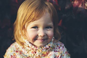 Portrait of cute three year old girl in autumn