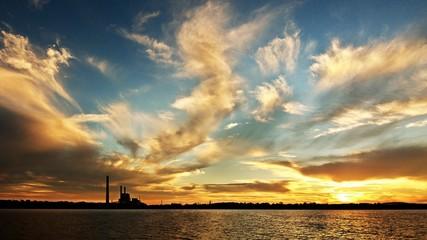 Spectacular Golden Lake Sunset over Vales Point power station.