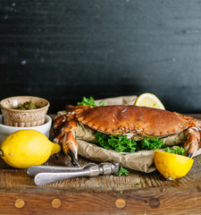 Cooked whole crab.