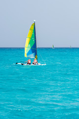 Sailing on the island of Saona island, Dominican Republic. Copy space for text.