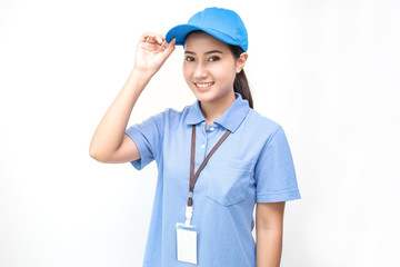 Portrait of happy delivery asian woman isolated on white background, young asian woman wearing blue uniform delivery service concept