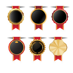 collection of quality empty badges with gold border.elegant black , gold,green and red. Design elements labels, seals, banners, badges, scrolls,certificate and ornaments