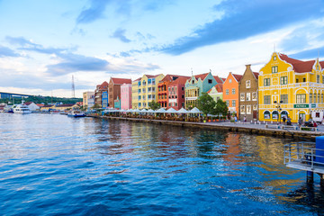 Colorful Buildings in Willemstad downtown, Curacao, Netherlands Antilles,  a small Caribbean island - travel destination for cruise ships or vacation Wall mural