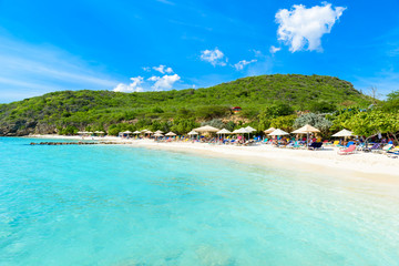 Porto Marie beach - white sand Beach with blue sky and crystal clear blue water in Curacao, Netherlands Antilles, a Caribbean Island