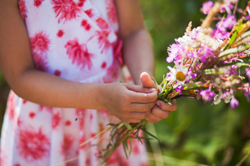 Picking wild flowers.