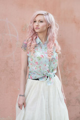 girl with pastel pink and blonde hair