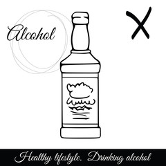 Outline alcoholic beverage vector icon. A symbol of harmful drinks