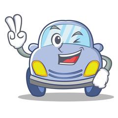 Two finger cute car character cartoon