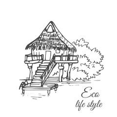 A wooden house on the water with a thatched roof and a long staircase in the style of a sketch