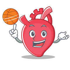 With basketball heart character cartoon style