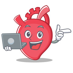 With laptop heart character cartoon style