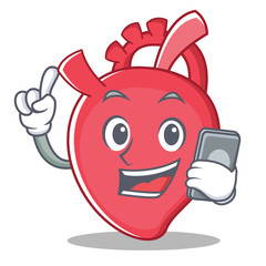 With phone heart character cartoon style