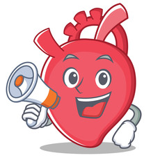 With megaphone heart character cartoon style