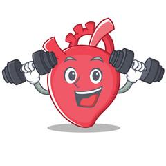 Fitness heart character cartoon style