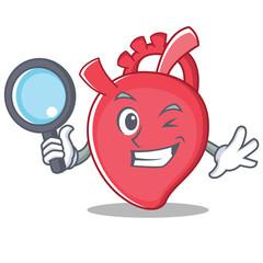 Detective heart character cartoon style