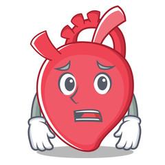 Afraid heart character cartoon style