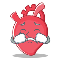 Crying heart character cartoon style