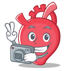 Photography heart character cartoon style