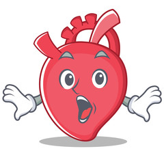Surprised heart character cartoon style