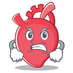 Angry heart character cartoon style