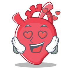 In love heart character cartoon style