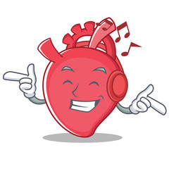Listening music heart character cartoon style