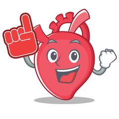 Foam finger heart character cartoon style
