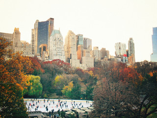 Autumn - Outdoor Ice Skating Rink and Fall Foliage - New York City