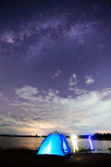 Camping at the lake view with milky way on the sky