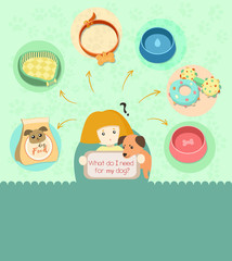 Pet icon set water and food bowls, dog food, toys for pets, collar and bedding